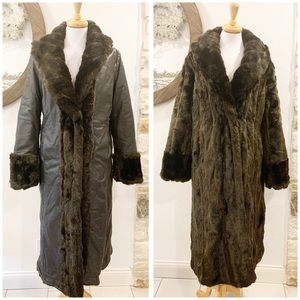 Excelled Long Reversible Leather Faux Mink Coat